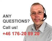 Any questions? Call us! +46 176-20 89 20