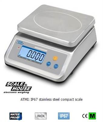 Compact scale stainless steel Dini, 6kg/2g & 15kg/5g. Verified M.
