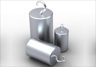 Stainless steel cylindrical mass 10g with 2 hooks. Incl. certificate. Zwiebel.