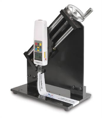 Crank test stand for 90° peel tests with simple operation