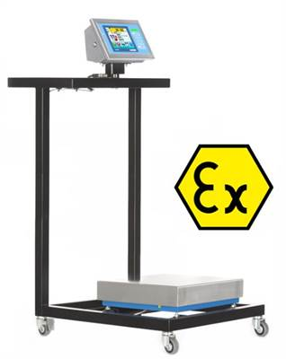 Painted steel cart for ATEX zones Ex II 2GD IIC. Low surface for 500x500 mm platforms.