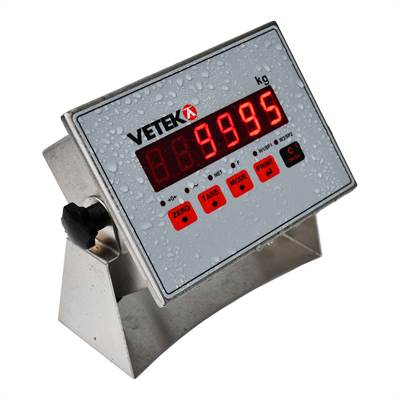 Weighing indicator wall, panel. stainless IP68, 2 alarms. 4-20 mA/0-10V.