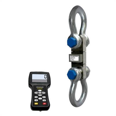 Dynamometer 50t/20kg with 2pcs shackles and wireless hand held display.