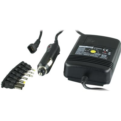 Car charger universal 1,5-12VDC, polarity selectable, 7 pcs secondary contacts..