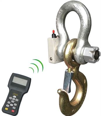 Wireless load shackle IP67 10T with wireless hand held display.