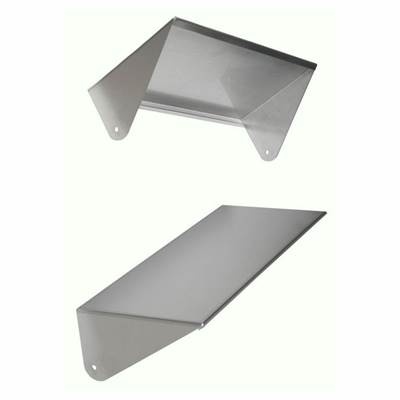 Attached stainless steel visor. It protects from sun and rain