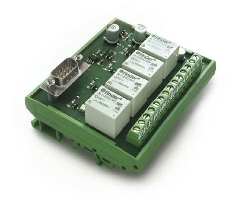 Control module with integrated relays. For example for machine control (I/O)